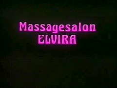 Massagesalon Elvira. A beautiful but innocent blonde (Anne Magle) gets a job at a massage parlour, but thinks she is there only as a masseuse. She is shocked by the goings on in the other booths - including Clyda Rosen and Karine Gambier, separately in b/g action. The owner (Hubert Geral) lets her watch him have sex with Christa Abel and gets another man to teach her about sex. She takes to it like a duck to water - literally as she takes on several men in the swimming pool. She is shocked when two foremr school teachers of hers (Prof. Richter and Dr. Langhoff) turn up as clients, but carries on regardless. The three are joined by the owner, Karine Gambier and Clyda for a final orgy.