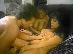 My Sensual Body. Luscious black beauty Ebony Ayes was one of the biggest starlets in 80s porn -- and we aren't just referring to her breathtaking bra busters! Ebony was one of the first women of color to make much of a mark on the hardcore scene, and what a mark she made. Ebony was a wide-eyed stunner with incredible curves in all the right places. Of course, her best-loved assets were definitely those beneath her blouse. Here, she joins a cast filled to overflowing with supremely stacked sex kittens like Kassi Nova and Raven Richards to tell a tawdry tale of marital infidelity and passionate partner swapping. It seems that Ebony's husband isn't doing what it takes to satisfy her, so she decides to take matters into her own hands -- and mouth! She eases her way into the cheating scene with gal pal Raven, sharing some steamy Sapphic moments in a scorching scene that's sure to please fans of huge hootered honeys. Later on, Ebony gets down and dirty with well-equipped stud Alex Horn in another slam-bang stunner. Kassi Nova also shines, sharing her massive mams with her man in a blistering boff. Asian strumpet Jade East turns in some nice and naughty work herself, but this one mainly belongs to Ebony Ayes and her eye-popping ebony orbs