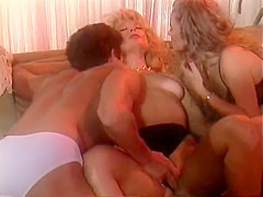 Crazy bald classic scene with Tom Byron and Viper. Tami Monroe is caught between a rock and a hard place in