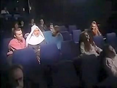 nun fuck 2 guys in cinema -m1991a1-. Hard group sex in the theater
