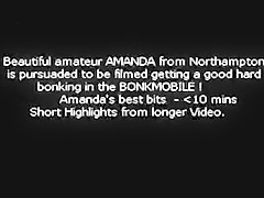 Amanda from Northampton short bonk mobile. 1990s (?) classic old video - Amanda from Northampton is persuaded to bonk on camera in a camper van - includes conversations before and you can hear instructions - oral, full sex, cim.