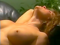 Ashlyn Gere banged on black leather. Sexy babe Ashlyn Gere is sweating and screaming with pleasure as she takes a big dick on her black leather couch.