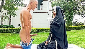 Erik Klein & Yudi Pineda in Dirty Nun Fucks The Gardener - BangBros. Yudi Pineda finds it hard to suppress her urges. This time, she started spying on the gardener and began to masturbate to him. She got so into it that she closed her eyes and never realized that he was approaching her. Once he noticed what she was doing, he snuck up behind her and started eating her pussy from behind. Soon, his cock was deep down her throat. Eventually Yudi's pussy was being stretched further than ever before. She took the gardener's cock in several different positions before receiving a gigantic load all over her face.