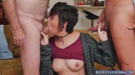 Sydney Sky gives her pussy to 2 old men.Sexy Sydney Sky gives her pussy to two horny old men in a hot threesome fucking action.