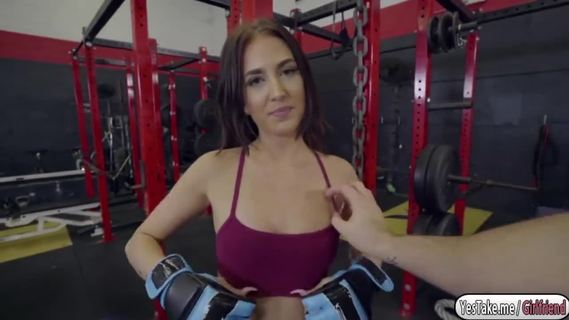 Sexy Aubrey Rose fucks after gym.Aubrey Rose is training in the gym with her bf instructor. He teaches her self defense, grabs her as she tries to get off. He gets turned on touching her boobs. Aubrey gives her a blowjob and later strips her clothes to receive her bf's huge dick.