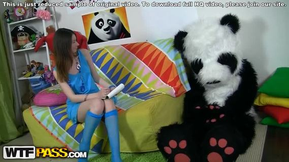 Sexy teen in halfhose fucking.This funny porn video starts with a frisky teen drawing her big panda bear. She tried real hard to make a good picture, but still the panda didn't like it. Why? Well, the girl forgot to draw something the panda's very proud of - his pink super dildo! The angry bear's gonna teach the forgetful girl a lesson, making her suck that big strap on. The pretty chick and the horny panda end up fucking like crazy, and I bet this sassy babe will never ever forget to draw the panda's strap on penis again. Great ...