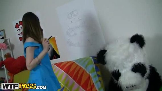 Fucked by a young artist with his new toy.This funny porn video starts with a frisky teen drawing her big panda bear. She tried real hard to make a good picture, but still the panda didn't like it. Why? Well, the girl forgot to draw something the panda's very proud of - his pink super dildo! The angry bear's gonna teach the forgetful girl a lesson, making her suck that big strap on. The pretty chick and the horny panda end up fucking like crazy, and I bet this sassy babe will never ever forget to draw the panda's strap on penis again. Great dildo porn vid!