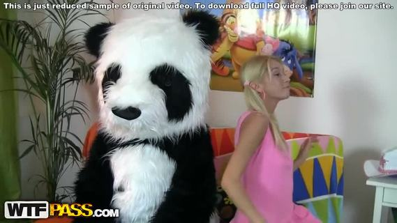 XXX sex toys video with lovely chick.This pretty teen girl and her panda bear sure have much fun together! They listen to the music, sing along and dance. But why not doing something kinkier than just dance? So the blondie strips naked, playing with a large dildo. This makes the panda bear horny as hell, and luckily, he has something to satisfy his nasty friend's lust! A big strapon is ready to pierce the girl's oozing hole, to make her forget about everything and plunge into salacious fun fucking. This fantastic teenporn video is sure ...