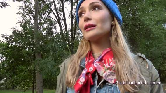 Blonde in mini skirt bangs in public. Blonde Euro amateur hottie in plaid mini skirt takes public agent for his huge dick and then rides him on the ground outdoor in the woods