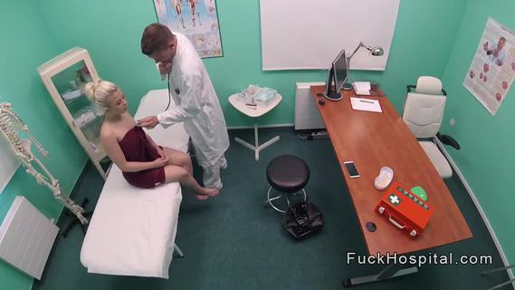Doctor bangs beautiful spinner patient. Doctor examines sexy petite blonde patient and then she sits on his big dick and rides it on examining table till gets cumshot in fake hospital pov