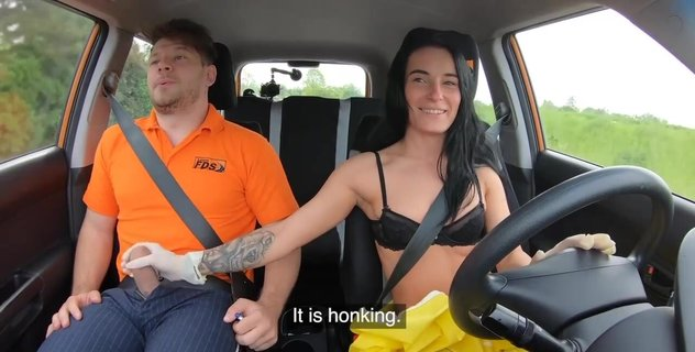 Driving instructor stretchs brunette Lexi Dona inside car. Check out Driving instructor stretchs brunette Lexi Dona inside car on FRPRN.com