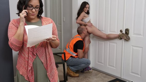 Gia Paige is horny for roofer's cock behind mom's back. Check out Gia Paige is horny for roofer's cock behind mom's back on FRPRN.com