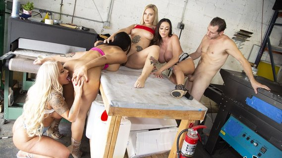 Ariella Ferrera and Rose Monroe enjoy orgy in a garage. Check out Ariella Ferrera and Rose Monroe enjoy orgy in a garage on FRPRN.com