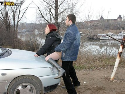 Red-haired Lissy is nailed wildly on the car outdoors. Check out Red-haired Lissy is nailed wildly on the car outdoors on FRPRN.com