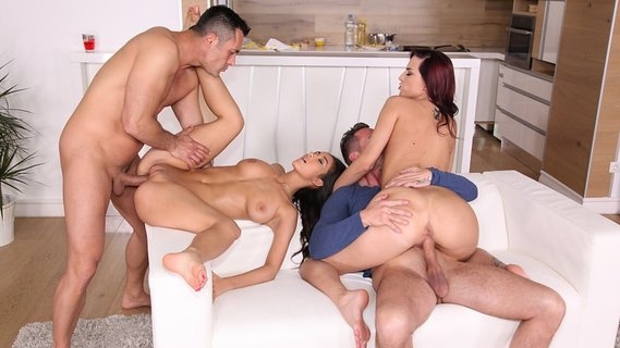 Girlfriends are humped by two men on the same couch. Check out Girlfriends are humped by two men on the same couch on FRPRN.com