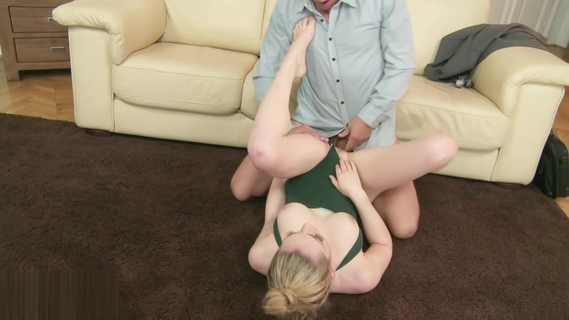 Busty cutie Lily Labeau fucks an older dude and gives him a footjob. Lily Labeau