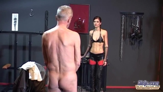Skinny old man has to fuck the young mistress Sophie Red. Sophie is a great girl, a hot mistress who is in a mood to fuck a old man. But before, that old ass needs to be tendered with some good whip strokes. The man is her playboy, she will treat his as a piece of meat, he is nothing more than a fuck machine. Her pussy needs to be licked and he will do it. Oldje doesn't want to mess with such a dominant woman. Their tongues in each others throats are meeting half way, full of desire. But her throat does not deserve being empty, so she replaces his tongue with his dick. Her pussy is fucked from every angle so that she doesn't remain unsatisfied. Oldje swirls his lizard like body on her and penetrates the depth of her pink, wanting pussy. His dick is overused and she manages to turn it bright red, just like her name. And she likes eating sperm! Enjoy!