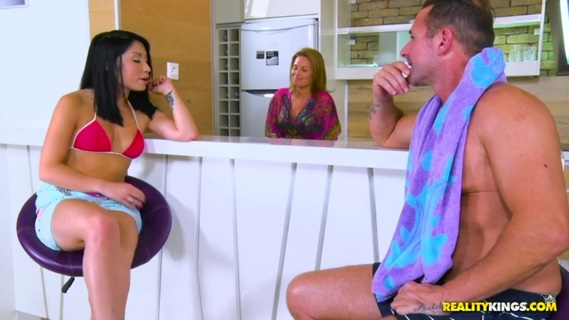 Asian Rina Ellis makes stepdad understand that she wants sex. Rina is David's step-daughter. David just married her mother recently. Rina and David just got back to the hotel from the beach where Rina's mom was making sandwiches. Rina's mom is super excited that Rina and her new husband are getting along but sometimes you got to be careful what you wish for. Little did Mom know that Rina had the hots for her new man. Rina flirts with David unbeknownst to her mom even though she's in the same room. Once mom leaves, David goes in for the kill and gives Rina what she wants. Some big hard dick. To top it all off after fucking her like no man has ever, he makes her squirt in like 10 seconds flat. Amazing.