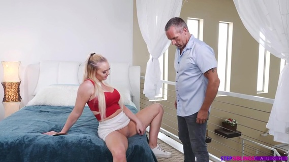 Stepdad finds out that Paisley Porter is a lascivious whore. Paisley Porter and her stepdad Marcus London have a strained relationship. Today, Marcus is super late picking Paisley up, leaving her to standi n the summer heat. When Marcus arrives, he can't believe what his bigtit stepdaughter is wearing. He tries to criticize, even going so far assaying he might need to dress her while her mom's away. That just gets Paisley all hot and bothered. She falls asleep and dreams of putting Marcus's hands between her thighs and letting him rub down her greedy pussy. When they arrive home, Paisley hops into the shower to masturbate from that hot fantasy.Marcus walks in on Paisley when she's moaning from her masturbation delight and sees her with the bathroom door wide open. He tries to call her on it at the table, but Paisley defends herself. Marcus doesn't know it yet, but he has fallen for Paisley's plan. The next day, when Marcus goes to pick Paisley up, she hops into the back of the car and tells her daddy that if he doesn't finger her pussy right now she's going to show her mom the video she took of Marcus watching her in the shower. They drive home, but as soon as they hit the bedroom Paisley gets what she wants.Now that daddy is in a compromising position, Paisley gets on her knees to suck him off like she's been dreaming off. She urges Marcus to eat her out. When Marcus rolls over so Paisley can deep throat him, the promise of dad's dick is too compelling. Paisley climbs on top and sinks down until she's full of cock with her big ass bouncing away. Marcus gets to enjoy that bottom even more when he takes Paisley in doggy. Then he flips his bigtit stepdaughter onto her back to give it to her hard. That brings him to the edge, so he pulls out and blasts off all over Paisley's boobs, just as she requested.