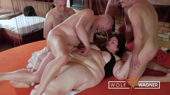 BBW Natascha sucks several cocks while being fisted to orgasm. The fat lady just can't enough and gets herself four men at once to be sure to get the naughtiest fuck. Those four hard dicks that she gets to blow and that fuck her like crazy, get her so rowled up that she comes several times, moaning and screaming with pleasure!
