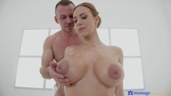 Masseur drills Nathaly Cherie's vagina and cums inside. Big tits blonde MILF Nathaly Cherie hires the studly Cage for an oily rubdown in the Massage Rooms! Cage starts at Nathaly's shoulders, soothing her sore muscles before removing her towel. Cage pours oil down Nathaly's chest and all over her big tits, then lies her down onto her back. Pouring the oil down Nathaly's lower body, Cage rubs her booty, thighs, and then her calves. As he oils up her toes, Nathaly moans with delight and spreads her legs, giving Cage access to her pretty pink pussy. Nathaly uses her feet to stroke Cage's cock, then flips over so she can give him an oily blowjob. Nathaly takes Cage's cock inside of her, and moans with delight as the stud fucks her passionately. Nathaly is even more pleased when Cage cums, leaving a big creampie inside of her!