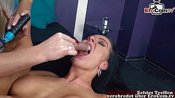 Mature German woman makes a hardcore lesbian sex and fucks her brunette friend inside all holes by toys. Mature German woman makes a hardcore lesbian sex and fucks her brunette friend inside all holes by toys
