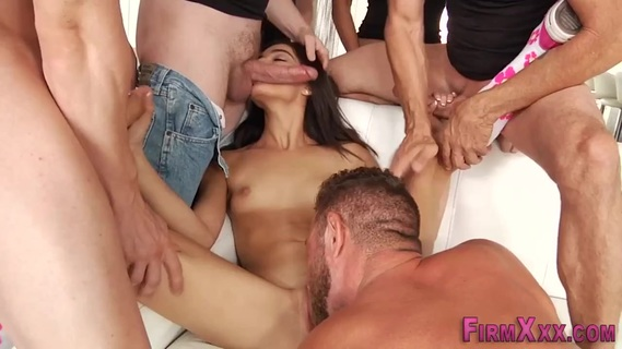 Naughty brunette girl with small tits is fucking with many men in the group sex at private casting. Naughty brunette girl with small tits is fucking with many men in the group sex at private casting
