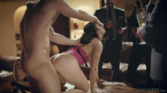 Rich men want to see escort Alina Lopez get pounded. Rowdy Businessman Taunt And Humiliate Escort During Public Fucking