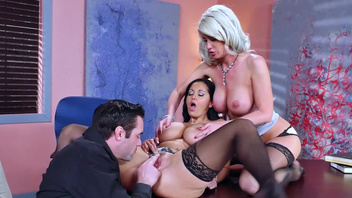 Man enjoys office threeway with Ava Addams and Riley Jenner. Man enjoys office threeway with Ava Addams and Riley Jenner