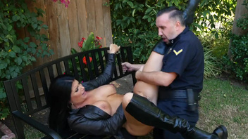 Sweet Romi Rain flirts with policeman Keiran Lee making him fuck her. Sweet Romi Rain flirts with policeman Keiran Lee making him fuck her