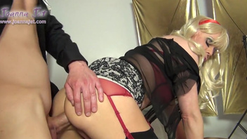 Blonde shemale Joanna Jet featured in a hot fucking session. Blonde shemale Joanna Jet featured in a hot fucking session