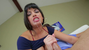 Top mom shows off proper cock sucking to her horny step son. Top mom shows off proper cock sucking to her horny step son