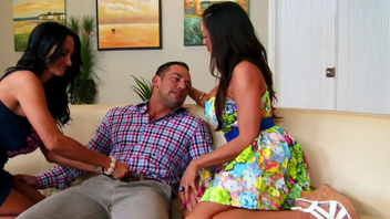 Ariella Ferrera and her girlfriend Ava Addams in a threesome. Ariella Ferrera and her girlfriend Ava Addams in a threesome