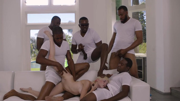 All blacks gangbang sex for sweet blonde Piper Perri. All blacks gangbang sex for sweet blonde Piper Perri