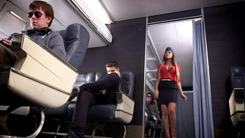 Sexy stewardess August Ames experiences rough group sex. Sexy stewardess August Ames experiences rough group sex