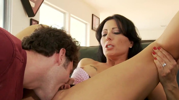 Hot mom enjoys sex on the couch until the last drop of cum. Hot mom enjoys sex on the couch until the last drop of cum