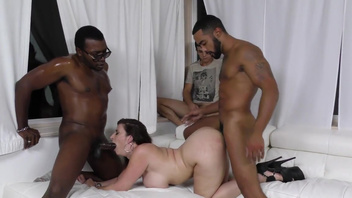 Sara Jay engages in wild sex with two horny black studs. Sara Jay engages in wild sex with two horny black studs