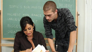 Tara Holiday fucks her student for a good grade he received. Tara Holiday fucks her student for a good grade he received