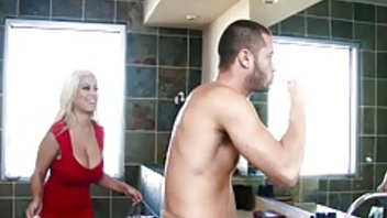 Bathroom fuck of big boobed chick Bridgette B and her man. Bathroom fuck of big boobed chick Bridgette B and her man