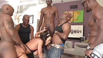 Black gangbang fucking delights for big hooters Lisa Ann. Black gangbang fucking delights for big hooters Lisa Ann