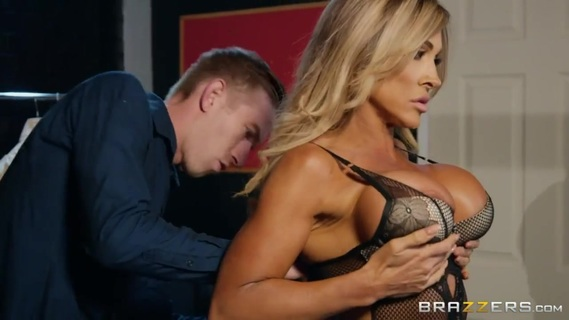 Burning hot pornstar Aubrey Black knows how to bang. Aubrey is out on a shopping spree trying to find the perfect piece of lingerie for her next scene. When she runs into the manager, Danny D, she is a little less enthused with his customer service. Danny quickly finds himself over his head with Aubrey's requests to go the extra mile. All she wants to know if her outfit is going to turn the guys watching on - what better test than to see if it's making Danny hard? After Aubrey checks out what Danny's packing she can hardly gorging down on his meat pipe. Talk about customer service excellence!