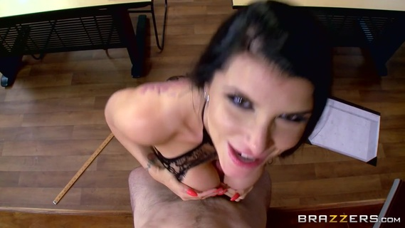 Brunette with huge boobs seems eager to spin some cock in her vag. Brunette with huge boobs seems eager to spin some cock in her vag