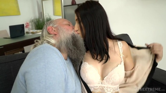 in Craving Old Guys. Sexy brunette Henny Ssy fucks with an old man, Albert. She enjoys this experience and his really hard dick!!