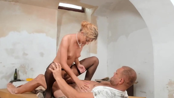 Elegant lady Shona River is fucking with a mature man inside a pussy. Elegant lady Shona River is fucking with a mature man inside a pussy