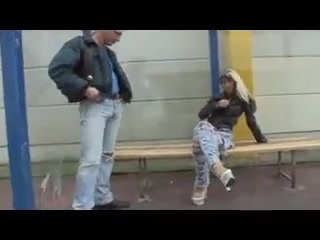 Hot german slut screwed at the bus stop. Hot german slut screwed at the bus stop