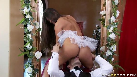 Madelyn Marie rides on Ramon like crazy. Heavy chested brunette milf Madelyn Marie with smoking hot body and arousing heavy make up gives head to Ramon and enjoys riding on his meaty cannon on the floor.