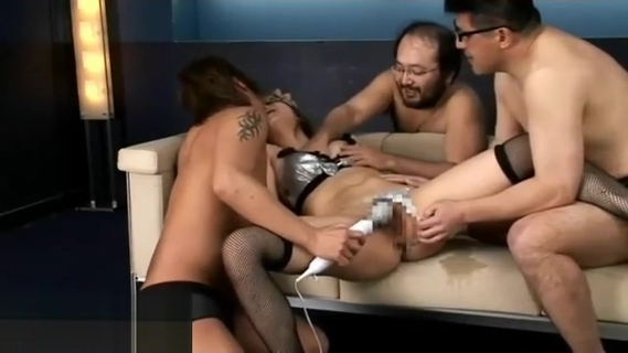 Young Japanese in stockings has rough gangbang. Young Japanese in stockings has rough gangbang