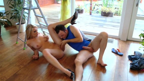 Hot blonde gets nailed from behind on a ladder. Michelle Thorne