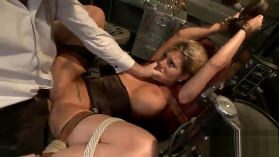 Sweet blonde honey is tied and fingered. Charisma Cappelli,James Deen,Linda Blonde