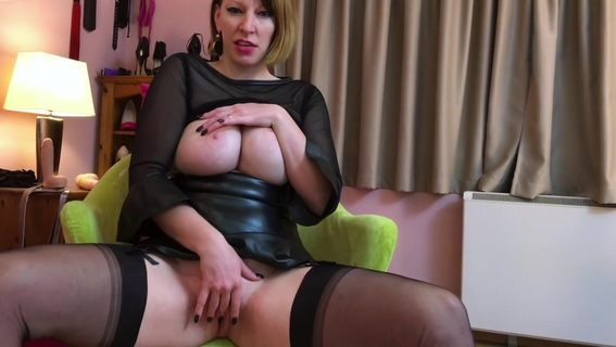 German Nylon Queen Anett Larman in stockings solo. cum for the Nylon Mistress